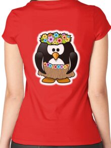 Penguin, Hula, Hawaiian, Hawaii, Cartoon,  Women's Fitted Scoop T-Shirt