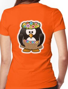 Hula Penguin, Hawaiian, Hawaii, Cartoon,  Womens Fitted T-Shirt