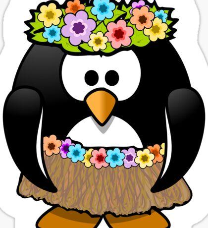 Penguin, Hula, Hawaiian, Hawaii, Cartoon,  Sticker