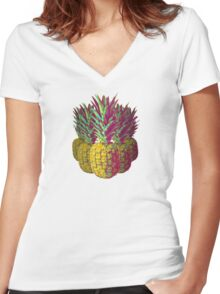 Multiple Pineapples Women's Fitted V-Neck T-Shirt