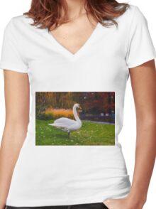 White Swan Women's Fitted V-Neck T-Shirt