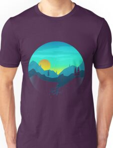 Pine Hills By The Mountains Sunrise Unisex T-Shirt