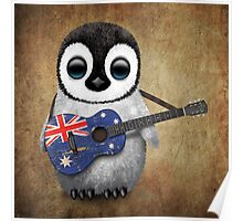 Baby Penguin Playing Australian Flag Guitar Poster