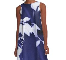 Leaves on dark blue A-Line Dress