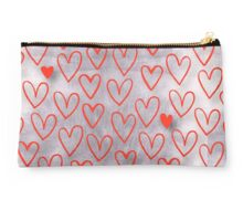 cute,red,hearts,on silver background, modern,trendy,valentine,love,hand painted Studio Pouch
