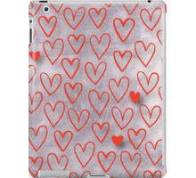 cute,red,hearts,on silver background, modern,trendy,valentine,love,hand painted iPad Case/Skin