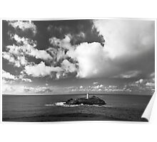 Clouds Over Godrevy Lighthouse Poster
