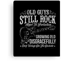 Men's Old Guys Still Rock Guitar T-shirt For Men Canvas Print