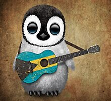 Baby Penguin Playing Bahamas Flag Guitar by Jeff Bartels