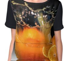 Orange Splash Chiffon Top