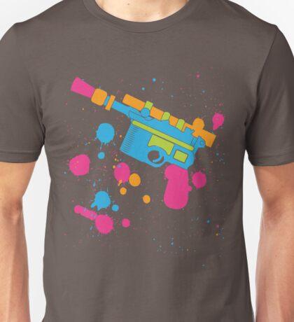 Han Solo Blaster Paint Splatter (Full Color) Unisex T-Shirt