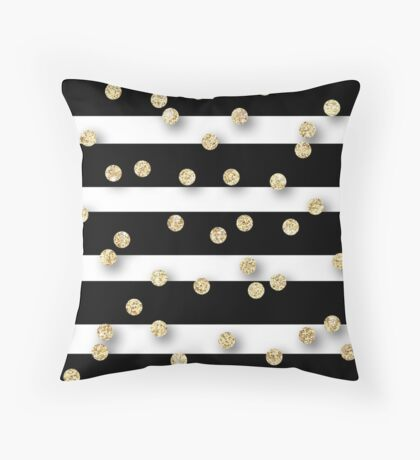 Random polka dots,glitter,glam,gold,stripes,black,white,modern,trendy,cute,girly,pattern,girly,preppy Throw Pillow