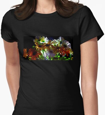 Backlit Flower Bouquet  Womens Fitted T-Shirt