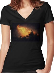 Midnight tale Women's Fitted V-Neck T-Shirt