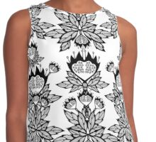 Abstract flowers. Black and white bouquet. Contrast Tank