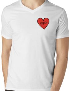 Oppa Heart Patch kpop Mens V-Neck T-Shirt