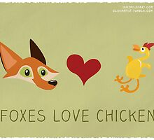 Foxes love Chicken by oliviartist
