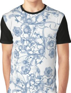 Cool Blue Flower Pattern Graphic T-Shirt