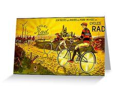 RAD CYCLES; Vintage Bicycle Advertising Print Greeting Card