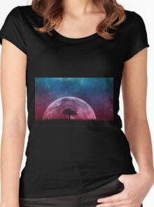 Nightime moon Women's Fitted Scoop T-Shirt