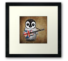 Baby Penguin Playing British Flag Guitar Framed Print