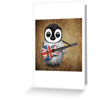 Baby Penguin Playing British Flag Guitar Greeting Card