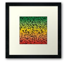Color Gradient Black Marbleized - Red | Yellow | Green Framed Print