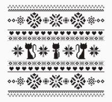 Cat Knit Pattern Black Kids Tee