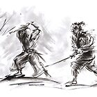 Samurai Battle Katana Sword Large Painting by Mariusz Szmerdt