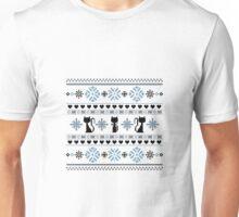 Cat Knit Pattern Blue Unisex T-Shirt