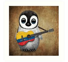Baby Penguin Playing Colombian Flag Guitar Art Print