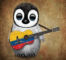 Baby Penguin Playing Colombian Flag Guitar by Jeff Bartels