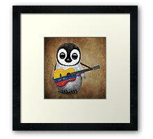 Baby Penguin Playing Colombian Flag Guitar Framed Print