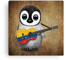Baby Penguin Playing Colombian Flag Guitar Canvas Print