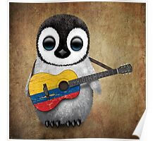 Baby Penguin Playing Colombian Flag Guitar Poster
