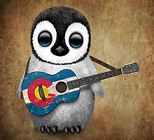 Baby Penguin Playing Colorado Flag Guitar by Jeff Bartels