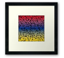 Color Gradient Black Marbleized - Yellow | Blue | Red Framed Print