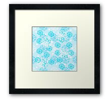 Snow design, gentle, blue with snowflakes of different sizes. Framed Print