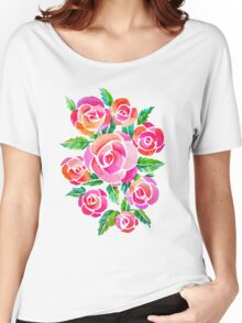 watercolor vintage roses Women's Relaxed Fit T-Shirt