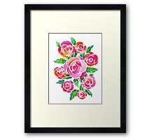 watercolor vintage roses Framed Print
