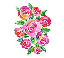 watercolor vintage roses Photographic Print