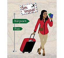 Bon Voyage black woman traveling Photographic Print