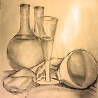 Still Life - Glass Bottle and Bowl 2 by Karen Gingell