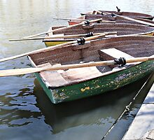 Four Dinghy's in a Lake by Stephen Mitchell