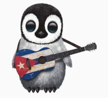 Baby Penguin Playing Cuban Flag Guitar Kids Tee