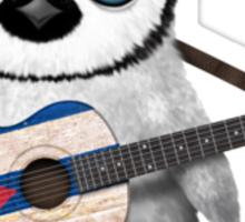 Baby Penguin Playing Cuban Flag Guitar Sticker