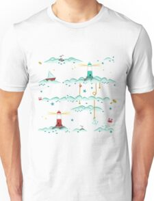 Maritimes Muster - I love the Baltic Sea - weiß Unisex T-Shirt