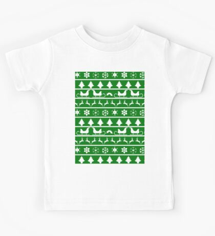 Christmas Green and White Tiny Christmas Nordic Knit Repeated Fair Isle Pattern Kids Tee
