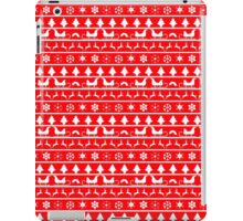 Christmas Red and White Tiny Christmas Nordic Knit Repeated Fair Isle Pattern iPad Case/Skin