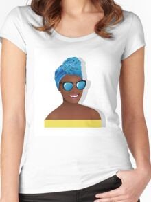 Beautiful black woman hair scarf Women's Fitted Scoop T-Shirt